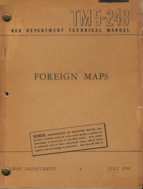 Foreign Maps War Department Technical Manual TM5-248