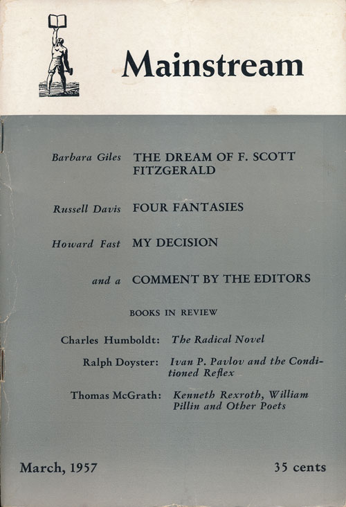 Mainstream March, 1957, Volume 10, Number 3. Howard Fast, Barbara Giles, Russell Davis, Etc.