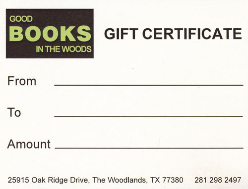 Gift Certificate $20. Good Books In The Woods.