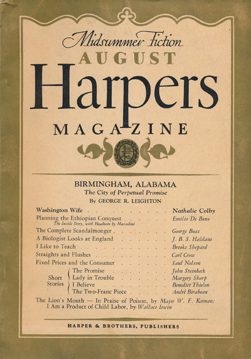 """""""The Promise, a Story"""" In Harper's Magazine, No. 1047, August 1937. John Steinbeck."""