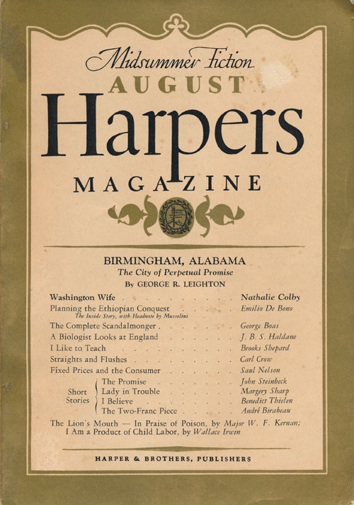 """The Promise, a Story"" In Harper's Magazine, No. 1047, August 1937. John Steinbeck."
