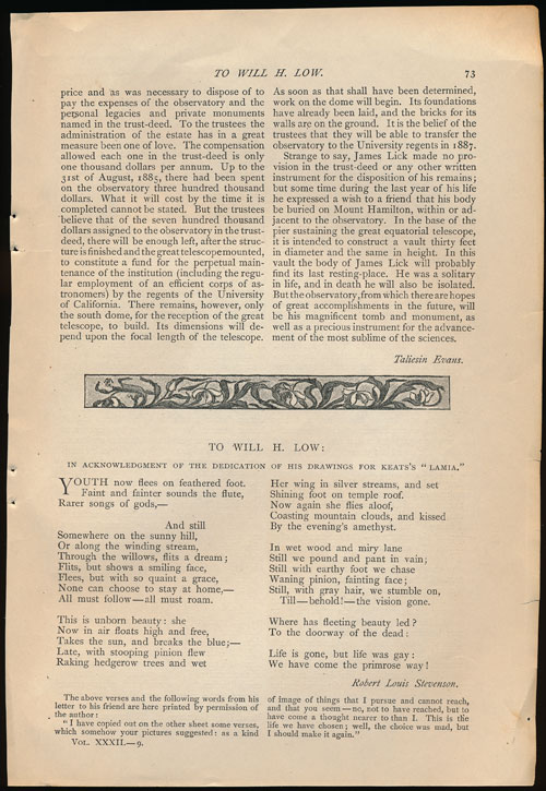 """""""To Will H. Low"""" in Acknowledgment of the Dedication of His Drawings for Keats's Lamia. A Poem in the Century Illustrated Monthly Magazine, May 1886. Robert Louis Stevenson."""