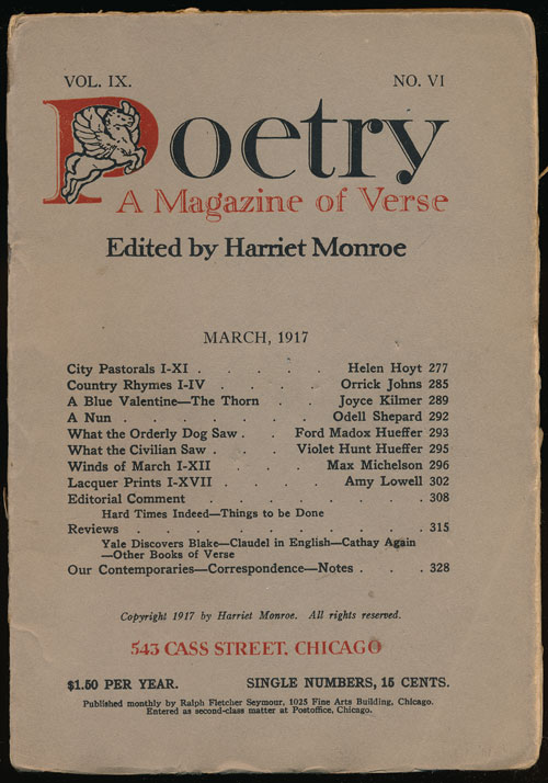 Poetry: a Magazine of Verse March, 1917. Amy Lowell, Helen Hoyt, Orrick Johns, Joyce Kilmer.