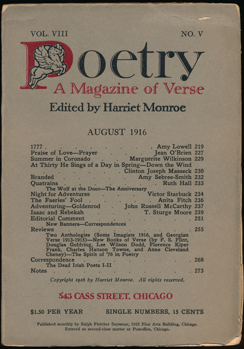 Poetry: a Magazine of Verse August, 1916. Amy Lowell, Jean O'Brien, Ruth Hall.