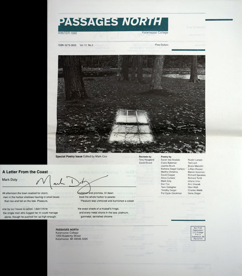 Passages North, Winter 1992. Mark Doty, Tess Gallagher.