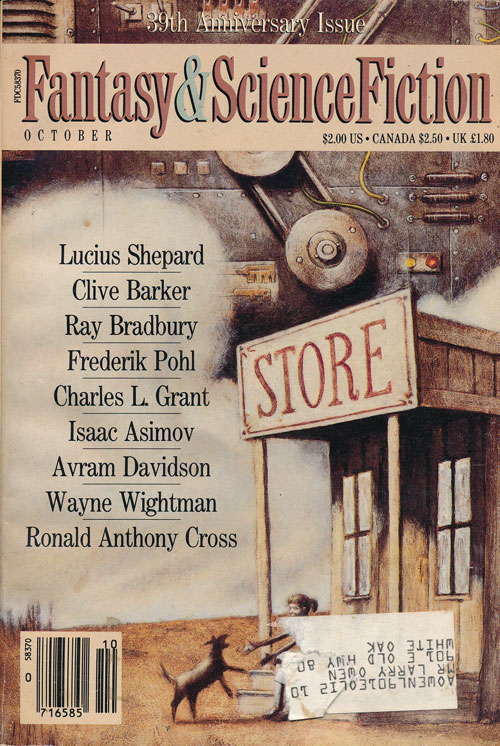 The Magazine of Fantasy & Science Fiction 39th Anniversary Issue, October 1988. Ray Bradbury, Frederik Pohl, Isaac Asimov, Clive Barker.