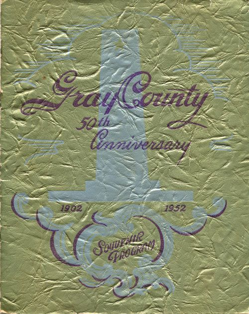 Gray County 50th Anniversary 1902-1952 Souvenir Program. M. K. Brown.