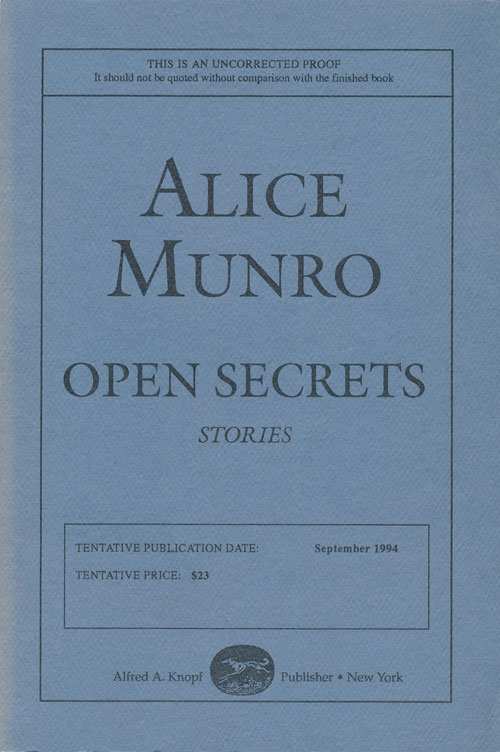 Open Secrets. Alice Munro.