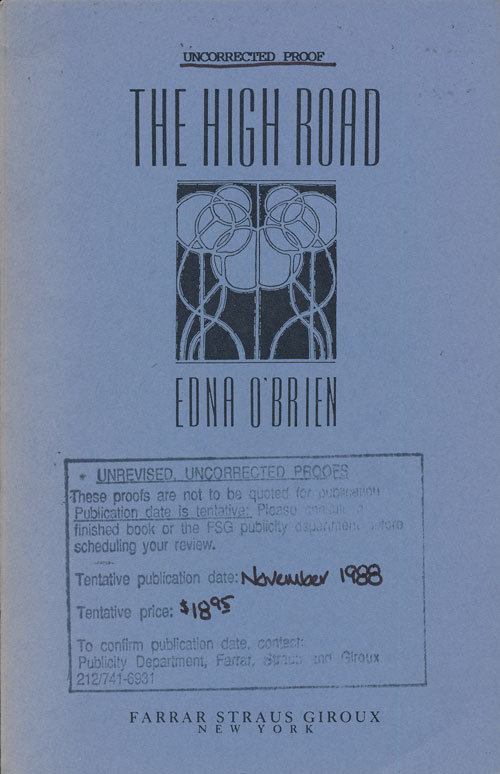 The High Road. Edna O'Brien.
