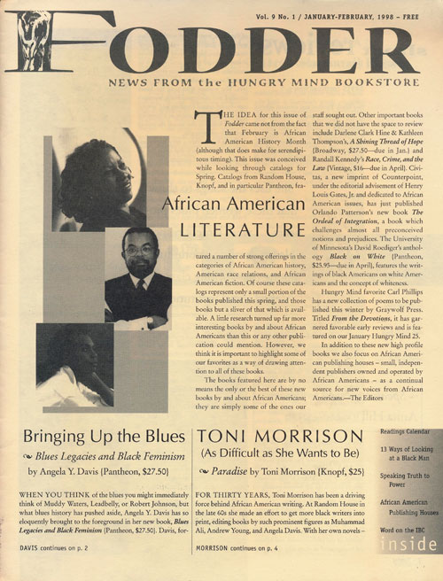Fodder: News from the Hungry Mind Bookstore Volume 9, Number 1, January-February, 1998. Toni Morrison.