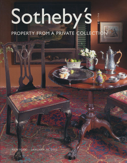Sotheby's Property from a Private Collection: Saturday, January 18, 2003. Sale # 7866. Sotheby's, Auction Cataloge.