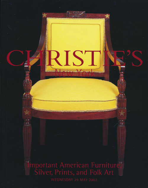 Important American Furniture, Silver, Prints and Folk Art; Wednesday 29 May 2002. Sale # 1096. Christie's.