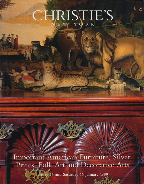 Important American Furniture, Silver, Prints, Folk Art and Decorative Arts; Friday 15 and Saturday 16 January 1999. Sale # 9054. Christie's.