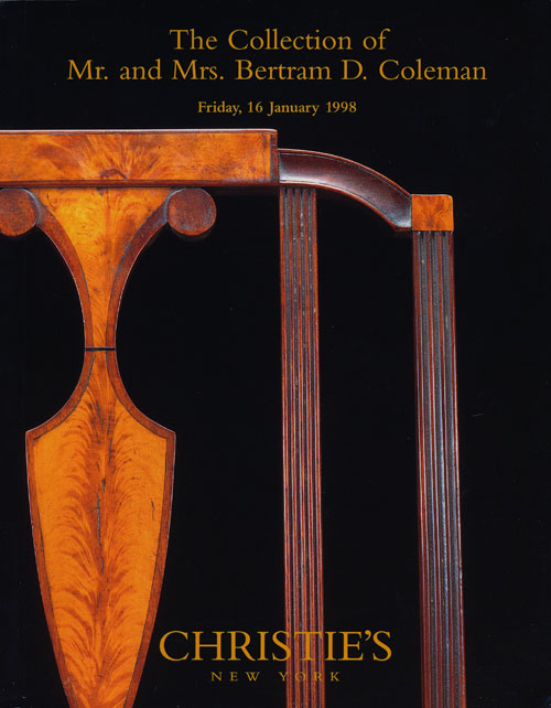 The Collection of Mr. and Mrs. Bertram D. Coleman; Friday, 16 January 1998. Sale # 8842. Christie's.