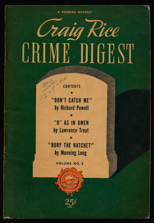 Craig Rice Crime Digest Vol No 2 (November-December 1946). Richard Powell, Lawrence Treat, Manning Long.