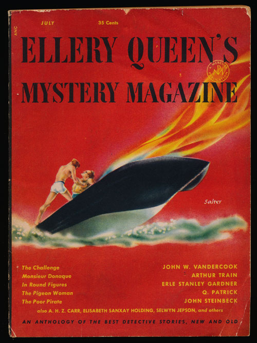 Ellery Queen's Mystery Magazine Volume 20, July 1952, Number 104 An Anthology of Detective Stories, New and Old. John Vandercook, Arthur Train, Q. Patrick, John Steinbeck, Etc.