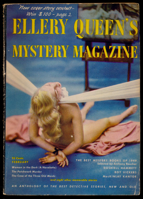 Ellery Queen's Mystery Magazine Volume 15, February 1950, Number 75 An Anthology of Detective Stories, New and Old. Dashiell Hammett, Roy Vickers, MacKinlay Kantor, Edgar Allan Poe, Etc.