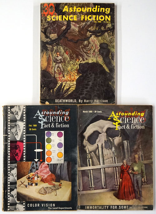 Astounding Science Fiction Jan-March, 1960 (3 Complete Issues). John Campbell, Harry Harrison, Poul Anderson, Robert Silverberg, Murray Leinster, Isaac Asimov.