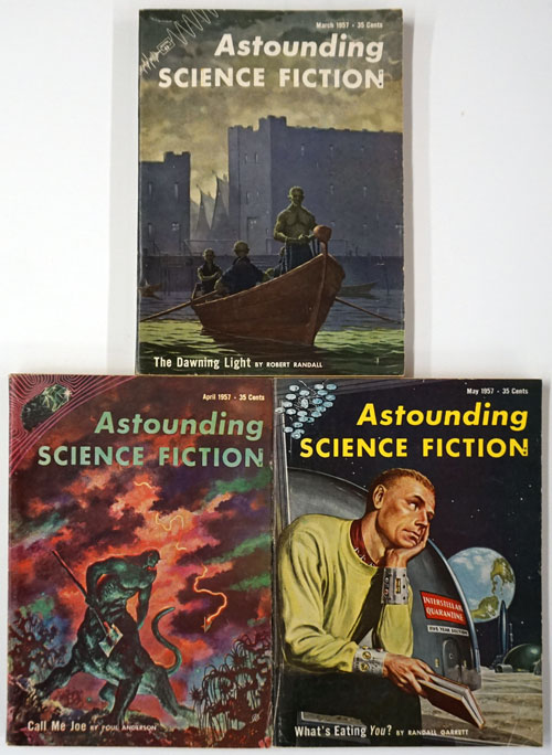 Astounding Science Fiction: March, April, May of 1957 (3 Complete Issues). John Campbell, Robert Randall, Poul Anderson, Isaac Asimov, Randall Garrett.