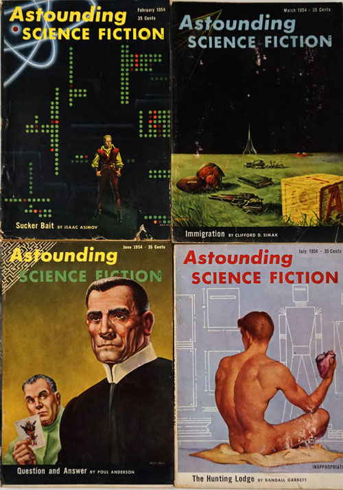 Astounding Science Fiction: February, March, June, July all of 1954 (4 Complete Issues - Feb, Mar, Jun, Jul 1954). Isaac Asimov, Poul Anderson, Frank Herbert, Clifford D. Simak.