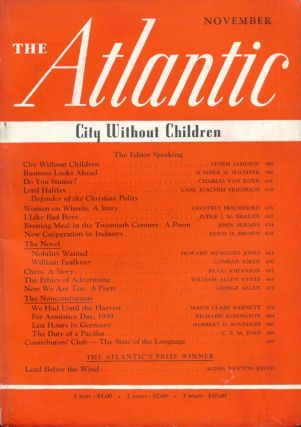 The Atlantic Monthly - November 1939. Conrad Aiken, George Allen, Hugo Johanson.