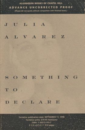 Something to Declare. Julia Alvarez.