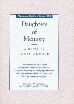 Daughters of Memory: A Novel. Janis Arnold
