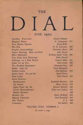 "The Fox First Appearance in ""The Dial"" D. H. Lawrence"