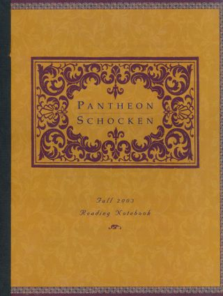 Pantheon and Schocken Books Fall 2003, Reading Notebook. Charles Baxter