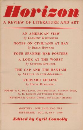 Horizon: a Review of Literature and Art Vol II, No 9, September 1940. Cyril Connolly, John...