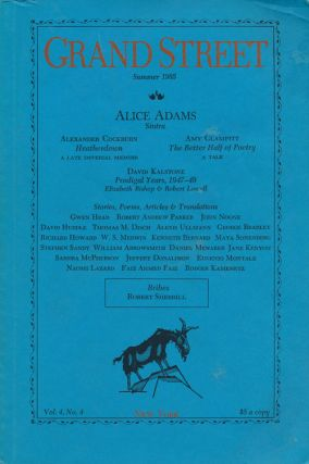 Grand Street Vol. 4, No. 4 Summer 1985. Alice Adams, Jane Kenyon, W. S. Merwin, Amy Clampitt.