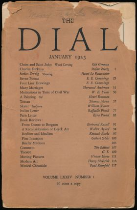 The Dial, January 1923 Volume LXXIV, Number 1. Stefan Zweig, E. E. Cummings, Sherwood Anderson,...