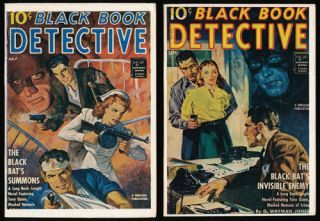 Black Book Detective Magazine - 2 Issues The Black Bat's Summons and the Black Bat's Invisible...
