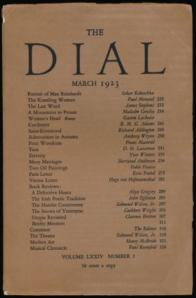 The Dial, March 1923 Volume LXXIV, Number 3. Malcolm Cowley, Gaston Lachise, Richard Aldington,...
