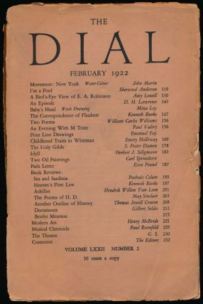 The Dial, February 1922 Volume LXXII, Number 2. Sherwood Anderson, Amy Lowell, D. H. Lawrence,...
