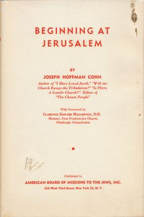 Beginning At Jerusalem. Joseph Hoffman Cohn