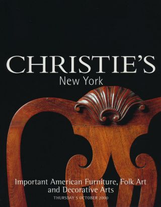 Important American Furniture, Folk Art and Decorative Arts; Thursday 5 October 2000. Sale # 9468....