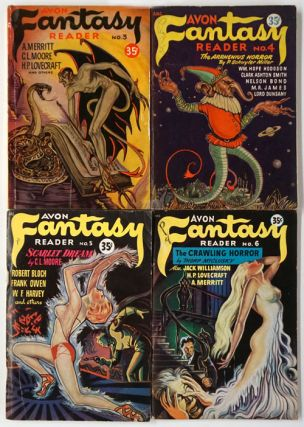 Avon Fantasy Reader No. 3,4,5,6 (4 Complete Issues). Donald Wollheim, H. P. Lovecraft, H. G....